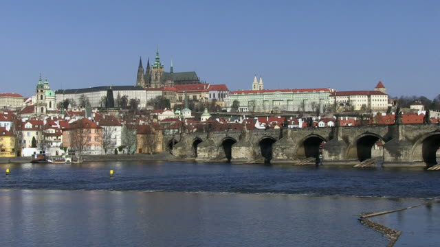 ws people walking on charles bridge near prague castle / prague, hlavni mesto praha, czech republic - hradcany castle stock videos and b-roll footage