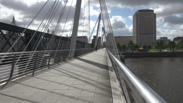 ms people walking on hungerford bridge over thames river / london, united kingdom - real time stock videos & royalty-free footage