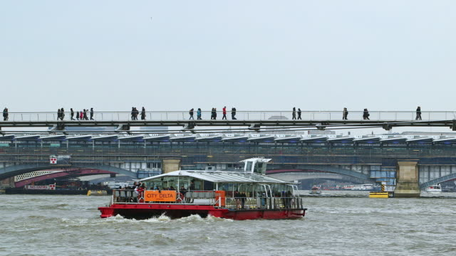 WS People walking on Millenium Bridge over River Thames / London, England, United Kingdom