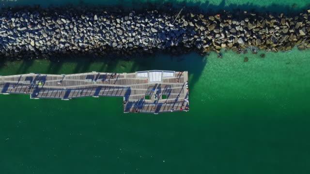 People walking on pier, aerial