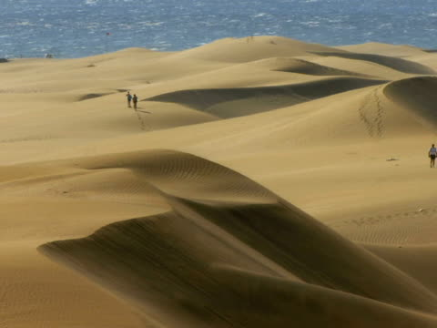 ha ws people walking on sand dunes with ocean in background / maspalomas, gran canaria, spain - unknown gender stock videos & royalty-free footage