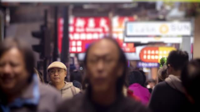 4K TIME LAPSE  : People walking on sidewalk in Hong Kong. (APPLE PRORES 422(HQ))