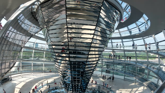 people walking on staircase in reichstag dome ,timelapse, tourism - dome stock videos & royalty-free footage