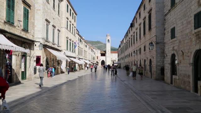 people walking on stradun street - old town stock videos & royalty-free footage
