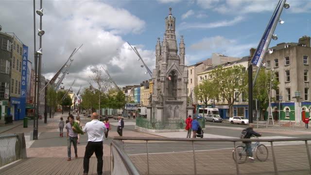 ms  people walking on street / cork , county cork, ireland - county cork stock videos & royalty-free footage