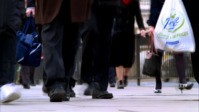 cu, people walking on street, low section, london, england - human foot stock videos & royalty-free footage