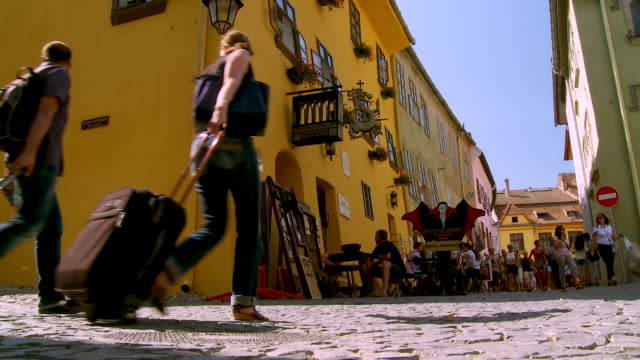 ms people walking on street /sighisoara, romania - mures stock videos & royalty-free footage