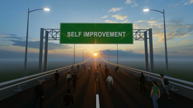 people walking on the highway and self improvement writing on the road sign - self improvement stock videos & royalty-free footage
