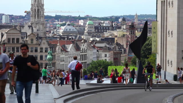 People Walking on the Mont des Arts (Mount of the Arts) in Front of the Old Town of Brussels