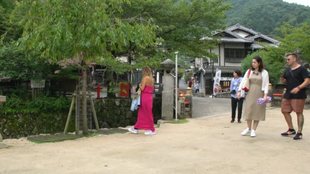 people walking on the waterfront alley on miyajima island - bassa marea video stock e b–roll