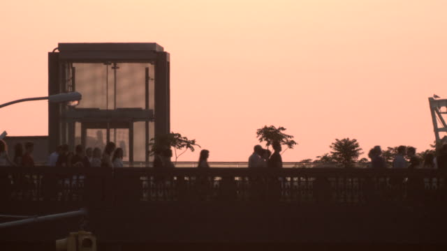People walking on top of the Highline Park around sunset