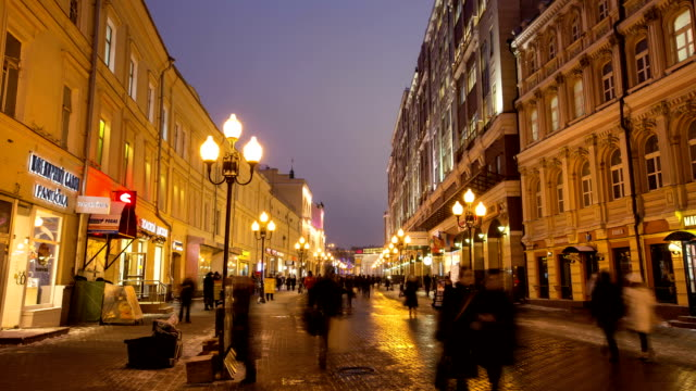 People walking through Arbat area at Night