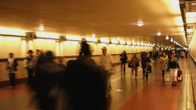 T/L WS People walking through connecting tunnel in Union Station / Los Angeles, California, USA