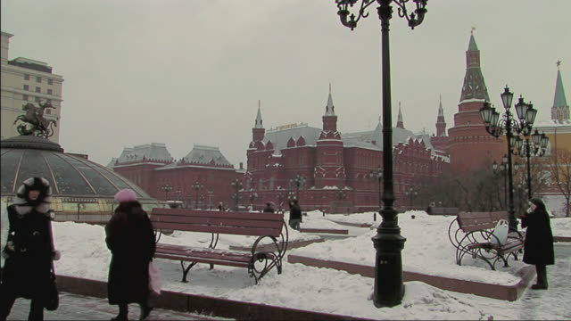 ws people walking through snow covered street in winter / moscow, russia - moscow russia stock videos & royalty-free footage