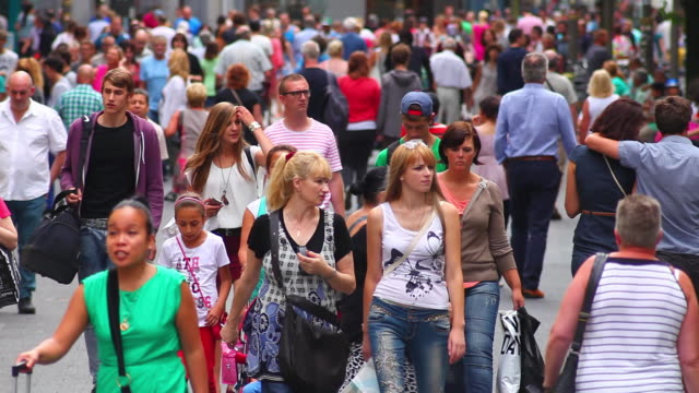 ws people walking through the city streets  - belgium stock videos & royalty-free footage