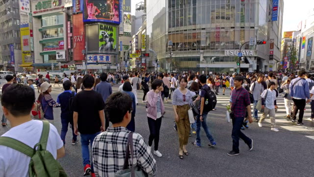 stockvideo's en b-roll-footage met pov of people walking through the shibuya crossing in tokyo - shibuya shibuya station