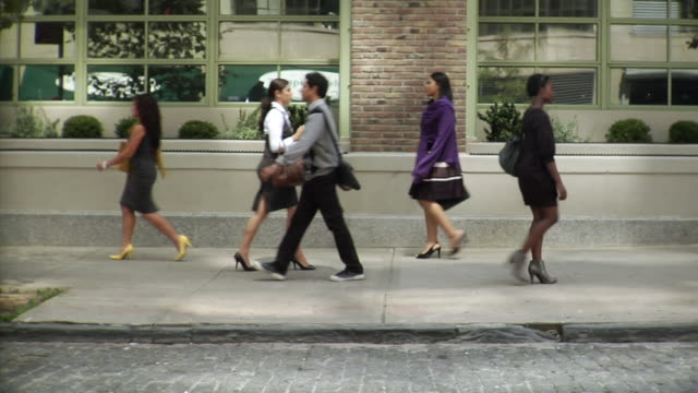 ws people walking up and down sidewalk, tribeca, new york, usa - side view stock videos & royalty-free footage