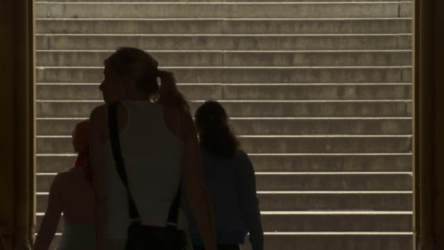 People walking up steps in Central Park in silhouette.