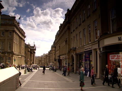 people wandering through pedestrianised part of newcastle city centre - newcastle upon tyne stock videos and b-roll footage