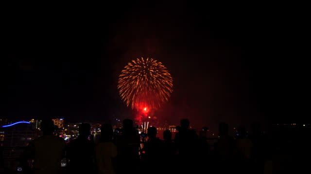 People Watch Fire Work On Sky