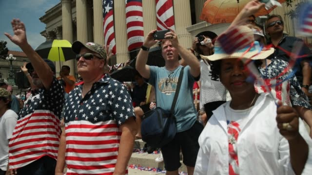 people watch the independence day parade outside the national archives on july 4 2019 in washington dc president trump is holding a salute to america... - parade stock videos & royalty-free footage