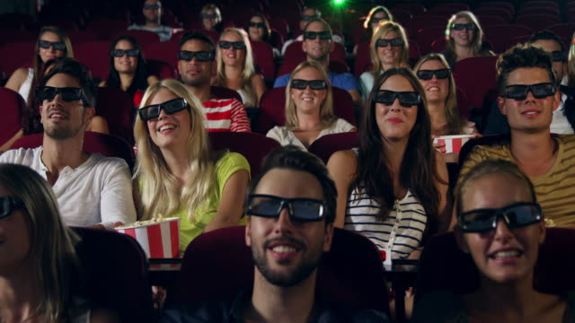 people watching 3d movie - movie theater stock videos and b-roll footage