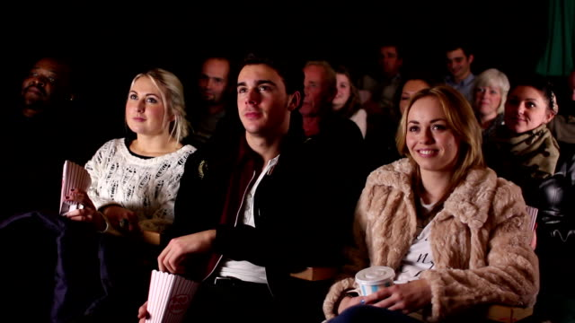 people watching film at the cinema, theatre (comedy) - theatrical performance stock videos and b-roll footage