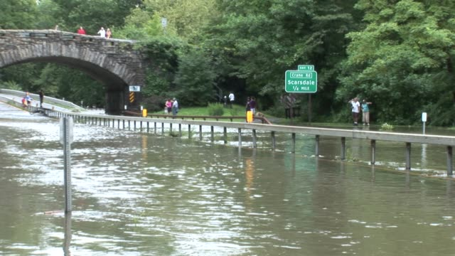 people watching flood water on parkway. zoom back to reveal area, including ardsley rd. overpass. bronx river parkway flooded on august 28, 2011 in... - hurricane irene stock videos & royalty-free footage