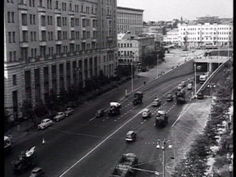 people watching traffic in moscow with view of sadovoye koltso and square named mayakovsky / russia audio - anno 1960 video stock e b–roll