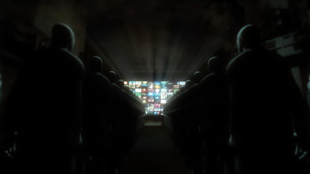 persone guardare video (zoom in schermo - cyborg video stock e b–roll
