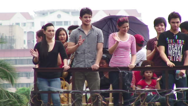 ms people waving at carnival / manila, philippines - celebrities stock videos & royalty-free footage