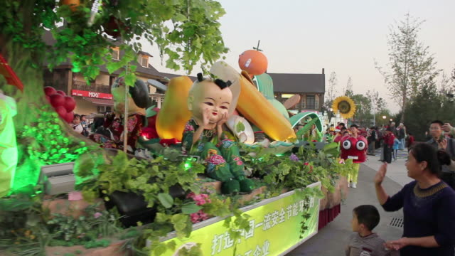 ws people wearing colorful costumes and parade float/xian,shaanxi,china - animal representation stock videos & royalty-free footage