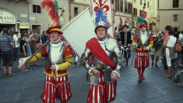 ms people wearing period costumes walking in parade, scoppio del carro festival / florence, italy - suit of armour stock videos and b-roll footage