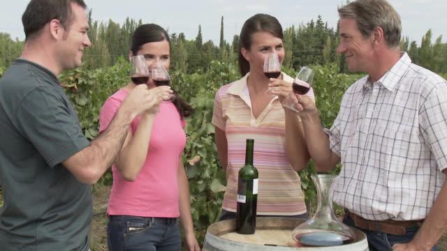 People wine tasting in a vineyard