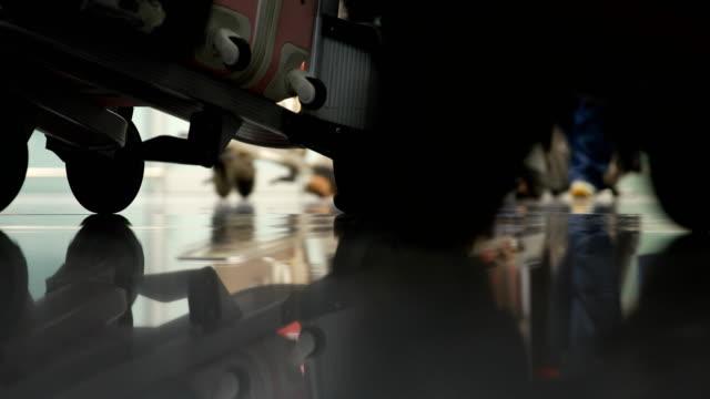 vídeos y material grabado en eventos de stock de personas con maletas caminando en el aeropuerto - estación edificio de transporte
