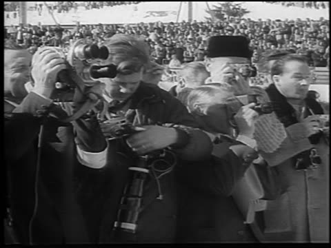 B/W 1966 people with cameras at Women's World Figure Skating Championships / Switzerland / newsreel
