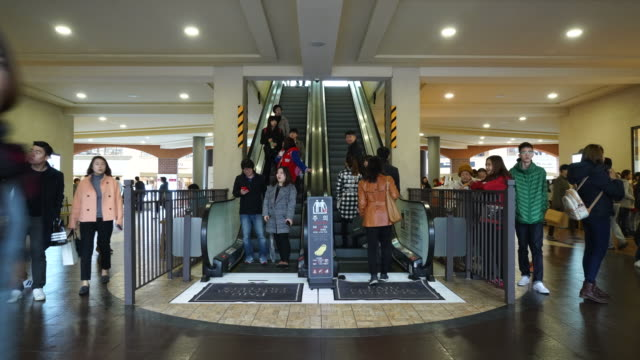 people with escalator - timelapse