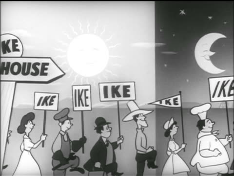 vídeos y material grabado en eventos de stock de animation people with ike signs march past white house sign / donkey in background / tv commercial - 1952