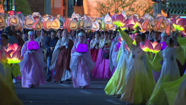 ms people with lantern parade on buddha's birthday event in jongro street / seoul, south korea - buddha's birthday stock videos and b-roll footage