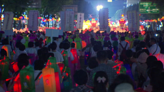 ms zo people with lantern parade on buddha's birthday event in jongro street / seoul, south korea - lantern stock videos & royalty-free footage
