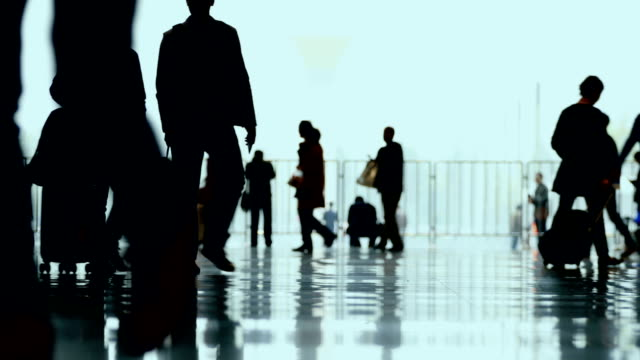 People with luggage walking in airport