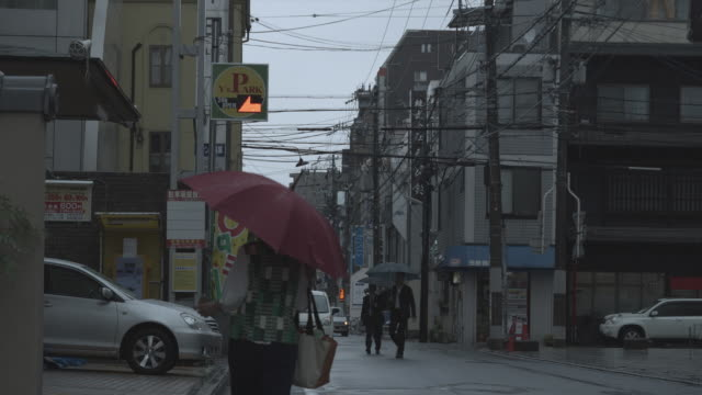 vídeos de stock, filmes e b-roll de ms people with umbrellas walking on street in rain, kyoto, japan - telegraph pole