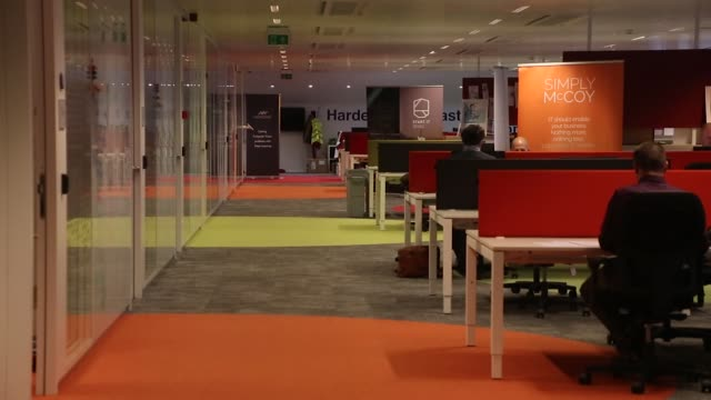 People work at desks in the startup incubator office inside the Corda Campus as Ericsson AB opens their 5G mobile data service and Internet of Things...