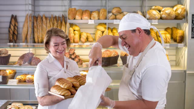 People working at a bakery