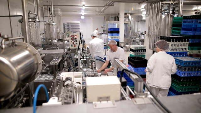 people working at a food factory - officina video stock e b–roll