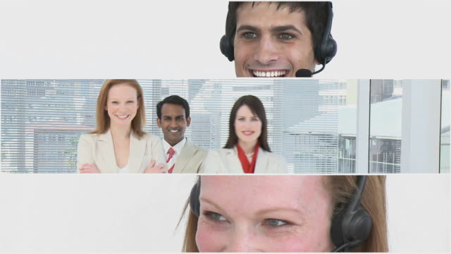 vídeos y material grabado en eventos de stock de cu people working at call center, portrait of business people / cape town, western cape, south africa - call center latino
