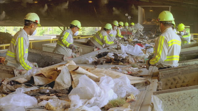 ms people working at conveyor belt in recycling center, santa barbara, california, usa  - spazzatura video stock e b–roll