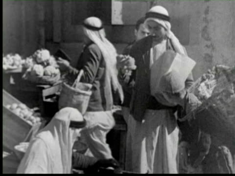 b/w people working at market old, palestine / audio - palestine stock videos and b-roll footage