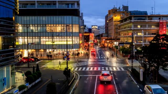 静岡県で夕日夕暮れ時に道路を横断の人々 - 輸送手段点の映像素材/bロール