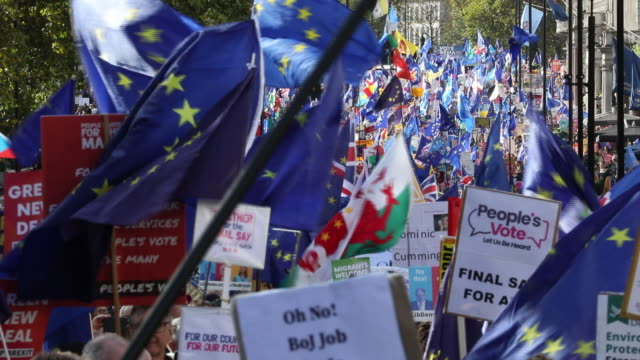 people's vote march in london, u.k. on saturday, october 19, 2019. - union jack stock videos & royalty-free footage